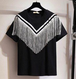 Женская футболка с бахромой, цвет черный