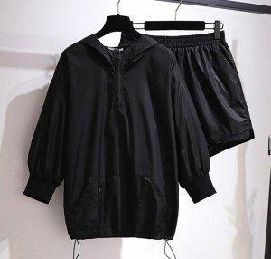 Женский костюм (ветровка и шорты), цвет черный