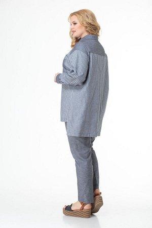 Костюм Костюм ANELLI 996 серые тона с принтом полоска  Состав: Хлопок-100%; Сезон: Весна Рост: 164  Комплект состоит из удлинённой блузы и брюк. Выполнен из хлопка высокого качества в компаньоне поло