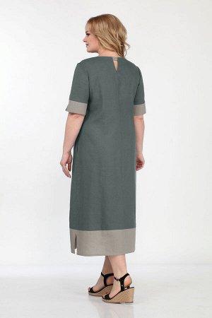 Платье Платье Bonna Image 563 зеленое  Состав: Лён-100%; Сезон: Лето Рост: 164  Стильное женское платье полуприлегающего силуэта, выполнено из льняной ткани. По переду платье с асимметричной вертикал