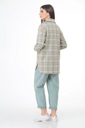 Костюм Костюм Bonna Image 562  Состав: Рубашка: Вискоза-64%; ПЭ-32%; Спандекс-4%; Брюки: ПЭ-25%; Хлопок-71%; Эластан-4%; Сезон: Весна Рост: 164  Стильный женский комплект, состоящий из рубашки и брюк