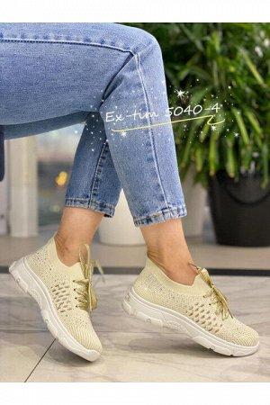 Женские кроссовки 5040-4 бежевые