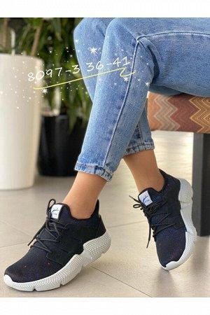 Женские кроссовки 8097-3 черно-синие