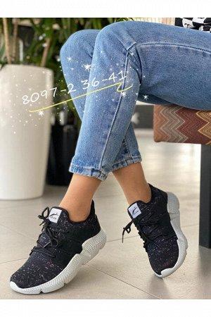 Женские кроссовки 8097-2 черно-серые