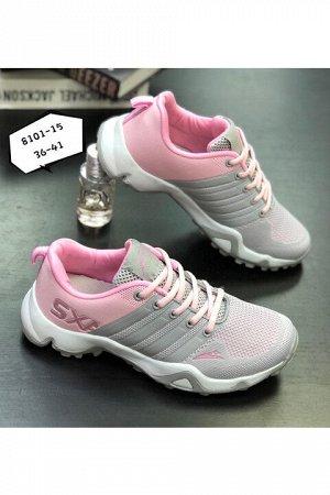 Женские кроссовки 8101-15 серо-розовые