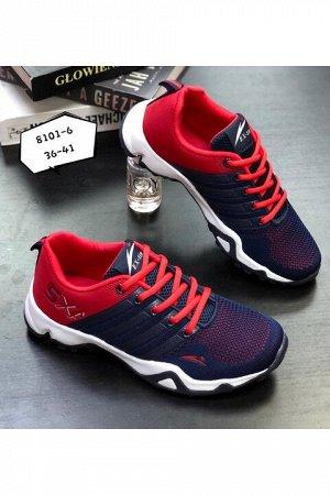 Женские кроссовки 8101-6 сине-красные