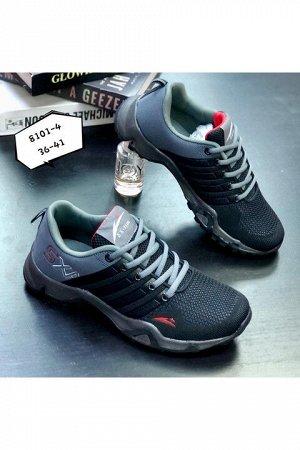 Женские кроссовки 8101-4 черно-серые
