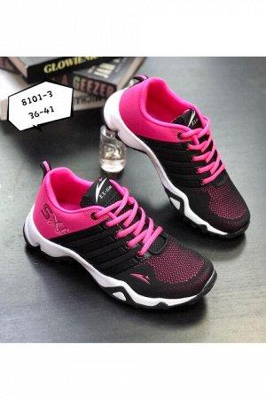Женские кроссовки 8101-3 черно-розовые