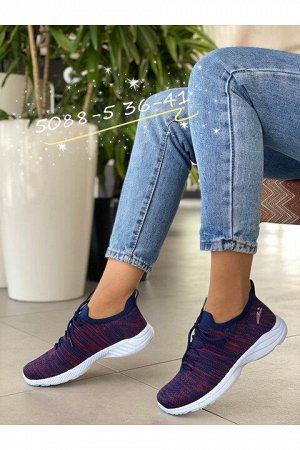 Женские кроссовки 5088-5 сине-винные