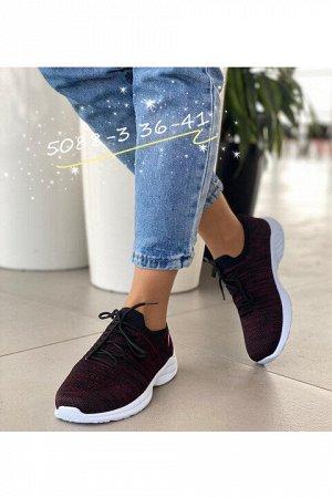 Женские кроссовки 5088-3 черно-винные