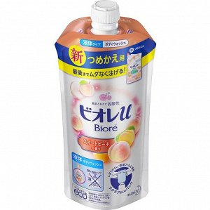 """336460 KAO """"Biore U"""" PEACH Нежное жидкое мыло для тела с ароматом свежего персика 340 мл,"""