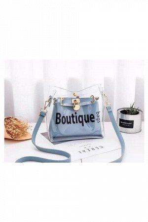 Женская сумка серо-голубая