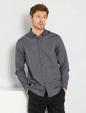 Прямая рубашка из ткани Оксфорд