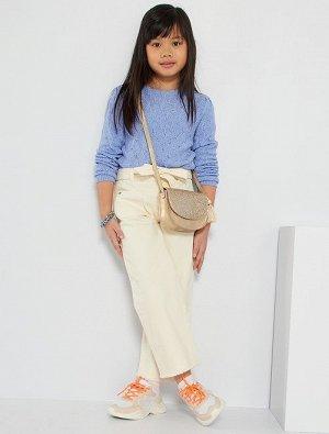 Укороченные джинсы из экологически чистого материала с эффектом выцветших оттенков
