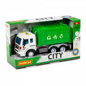"""Автомобиль инерционный коммунальный """"Сити"""" со светом и звуком, цв. зеленый , кор 32*11,5*18,5 см"""