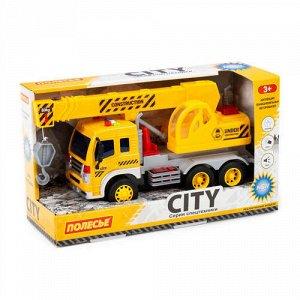 """Автомобиль-кран  инерционный """"Сити"""" со светом и звуком цв. желтый,кор 32*11,5*18,5 см"""