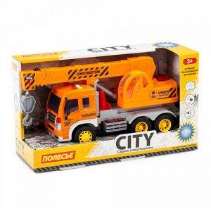 """Автомобиль-кран  инерционный """"Сити"""" со светом и звуком цв. оранжевый,кор 32*11,5*18,5 см"""