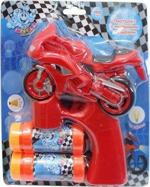 """Мыльные пузыри-пистолет """"Мы-шарики!"""" на бат. Мотоцикл ,свет,звук, 2*50 мл. блист.   тм.1TOY"""