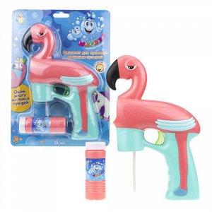 """Мыльные пузыри-пистолет на бат. """"Мы-шарики!"""" 56 мл. Фламинго,свет, блист.   тм.1TOY"""