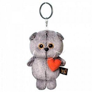 Мягкая игрушка Брелок Кот Басик с сердечком, 12см