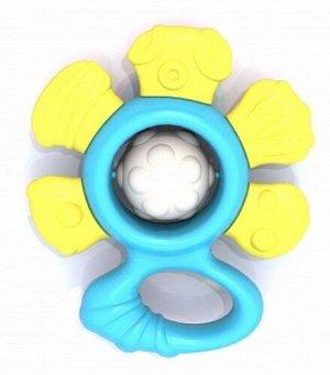 """Погремушка-прорезыватель """"Цветочек"""" желто-голубой, пак. 11*10*3,5 см.  тм Нордпласт"""