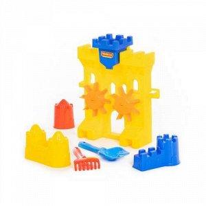 """Набор №466 (мельница """"Крепость"""", лопатка №5,грабельки №5,формочки """"Замок"""" 3 шт) 30,5*16*34 см"""