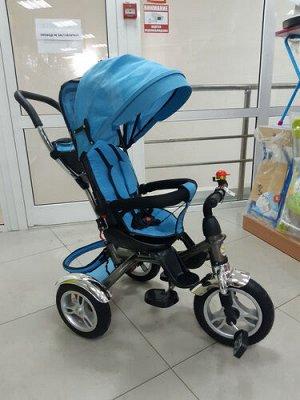 Велосипед с тентом и толкателем, цв. голубой