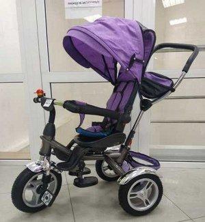 Велосипед с тентом и толкателем, цв. фиолетовый