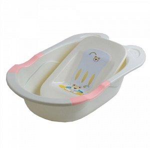 Ванна детская с горкой для купания 85 см., цв. розовый  85*50*23,5 см  тм.PITUSO