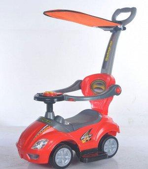 Машина-каталка (толокар) с толкателем и тентом, муз, цв. в ассорт., 80*42*85