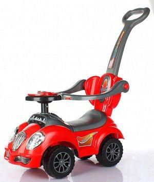 Машинка-каталка (толокар) с толкателем, свет, звук, цв. в ассорт. 68*29*85см