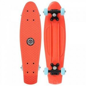 Скейтборд 56*15 см, колеса PVC 50 мм. пластиковая рама,цв. оранжевый