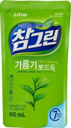 "CJ LION Ср-во д/посуды, фруктов, овощей ""Chamgreen - Зеленый чай""  800гр(780мл)  мяг. упак."