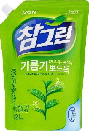 "CJ LION Ср-во д/посуды, фруктов, овощей ""Chamgreen - Зеленый чай"" 1200гр(1160мл)  мяг. упак."