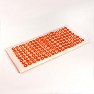Иппликатор - коврик, мягкий, 26 ? 56 см, 144 модуля, цвет белый/оранжевый