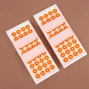 Иппликатор - коврик для ног, мягкий, 14 ? 32 см, на липучках, пара, цвет белый/оранжевый