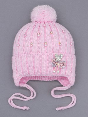 Шапка вязаная для девочки с бубоном на завязках, лапша, бусинки, бантик, мишка, розовый