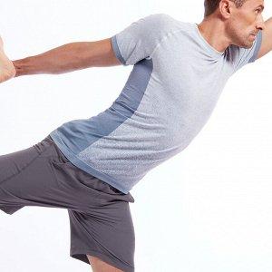 Футболка для динамической йоги бесшовная мужская серая KIMJALY