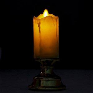 "Ночник с эффектом живого пламени ""Свеча малая"" LED от батареек 2xААА золото 7х7х14.5 см"
