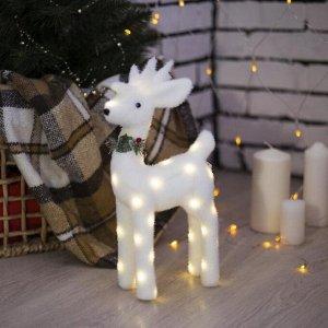 "Фигура световая ""Белый олень"". 18 LED. 30х16х9 см. фиксинг. от батар. (не в компл)"