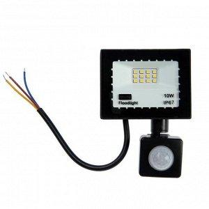 Прожектор светодиодный Luazon Lighting 10 Вт, 900 Лм, 4000К, Датчик движения, IP66