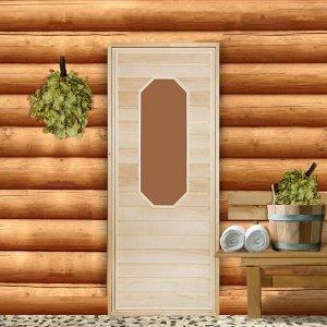 """Дверь для бани со стеклом """"Ромашка"""", 170?70см, """"Добропаровъ"""""""