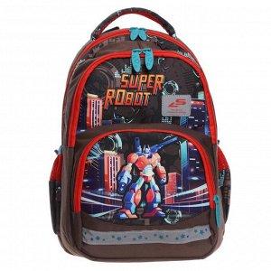 Рюкзак школьный, Luris «Гармония 2», 40 х 28 х 18 см, эргономичная спинка, «Супер робот»