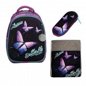 Рюкзак каркасный, Luris «Томас», 38 x 30 x 16 см, 3D-рисунок, наполнение: мешок для обуви, «Бабочки»