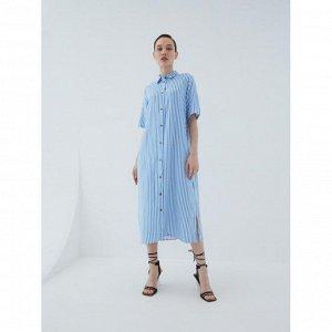 Платье женское голубой графика мелкая