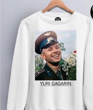 Свитшот с фото Гагарина, цвет белый