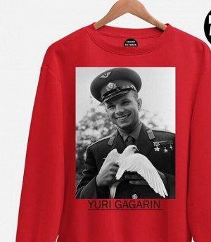 Свитшот Гагарин с голубем, цвет красный