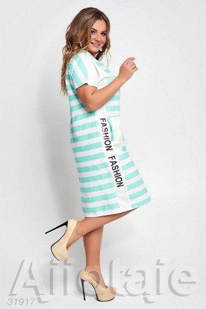 Платье в полосочку с короткими рукавами