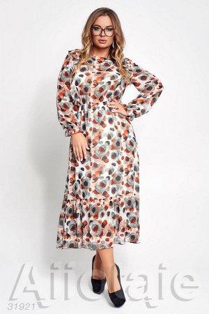 Шифоновое платье в пол с длинными рукавами