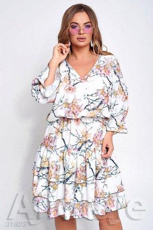 Летнее платье миди с цветочным узором